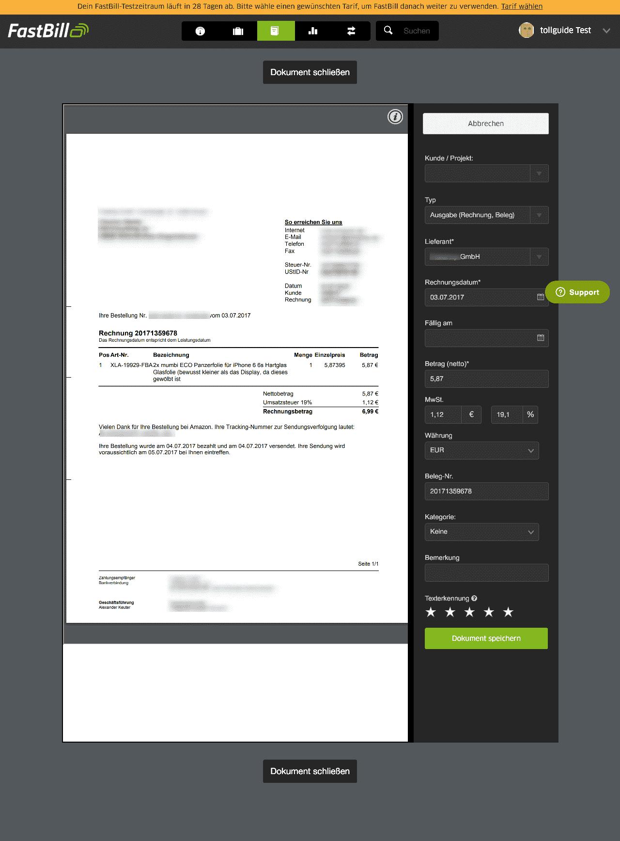 08 fastbill automatische Texterkennung