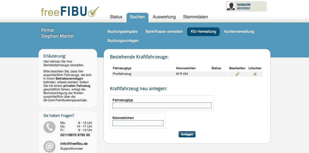 09 freefibu Kfz Verwaltung