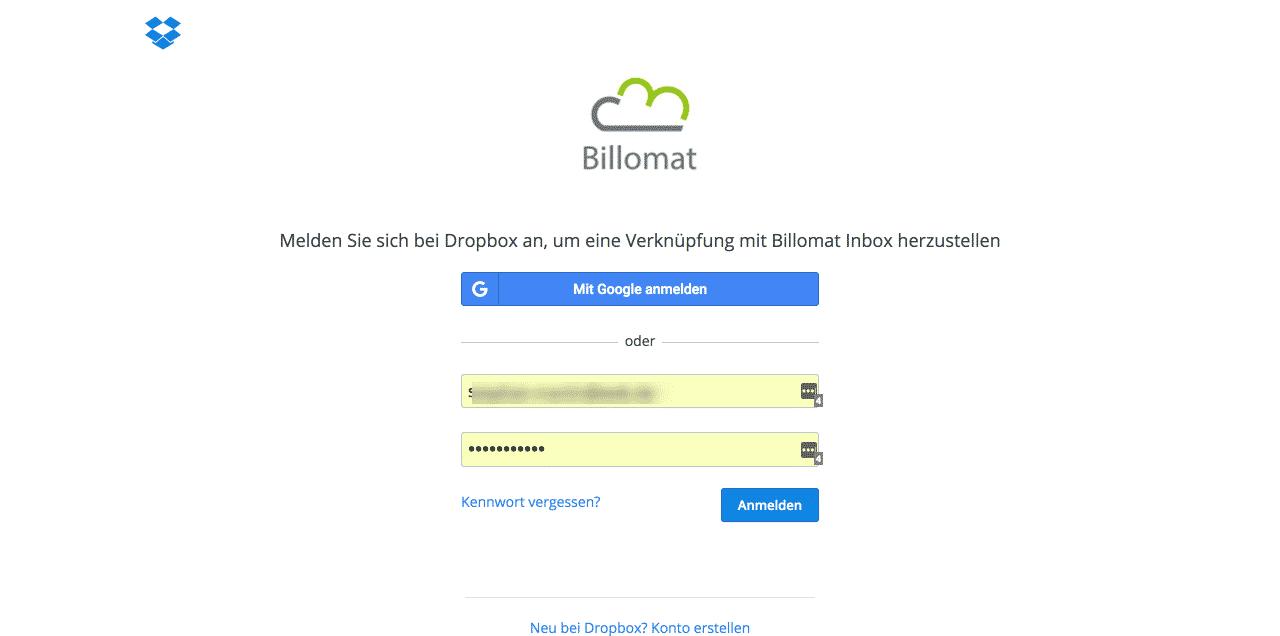 10 Billomat Verknüpfung mit Dropbox